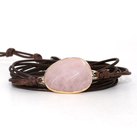 Bracelet Cordon Quartz Rose