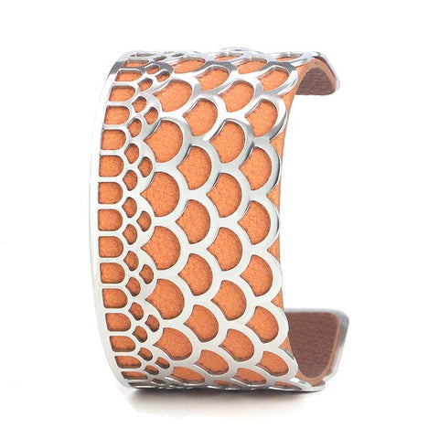 "Bracelet Manchette ""Écailles""<br> Orange et Marron (40mm)"