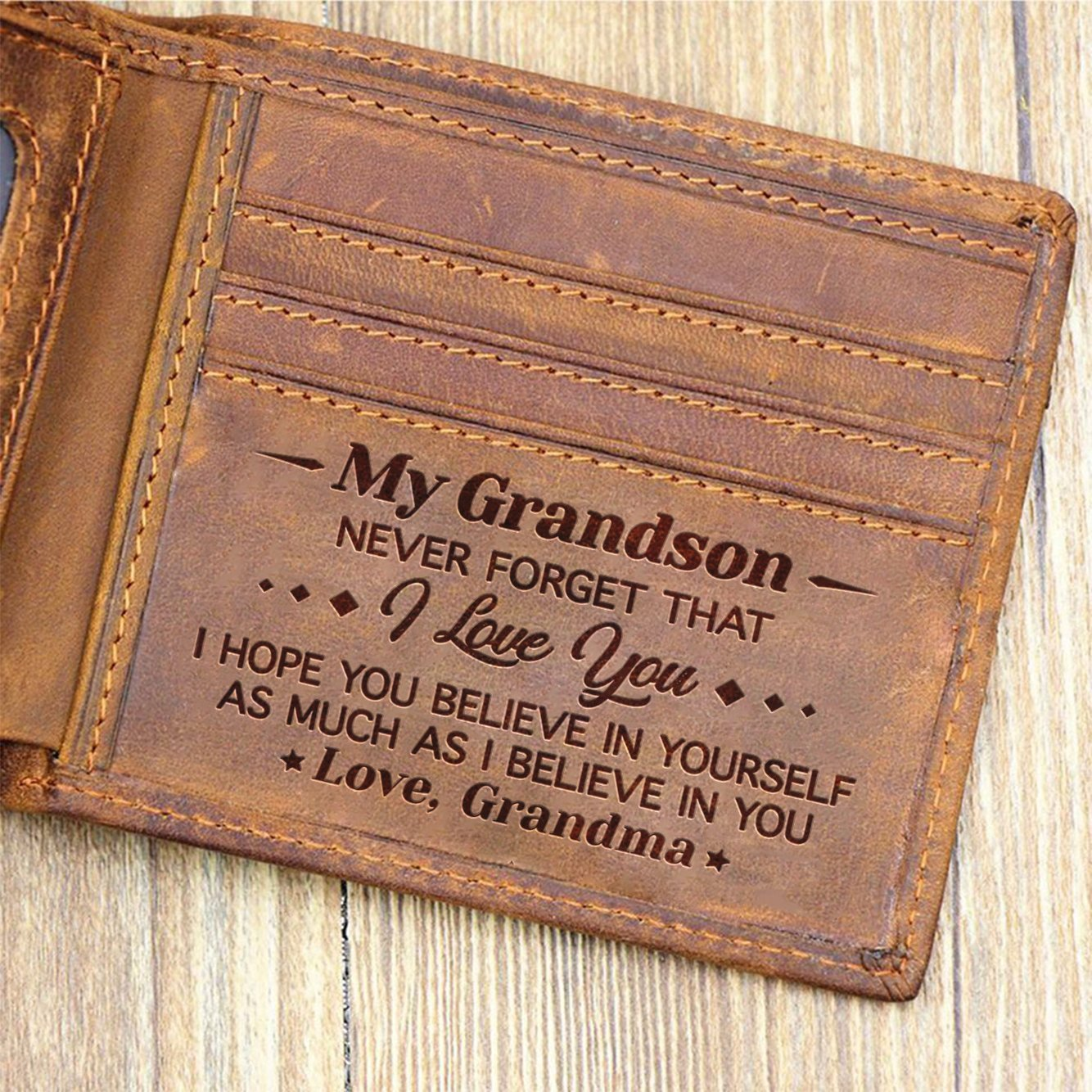 Grandma To Grandson - Never Forget That I Love You - Bifold Wallet