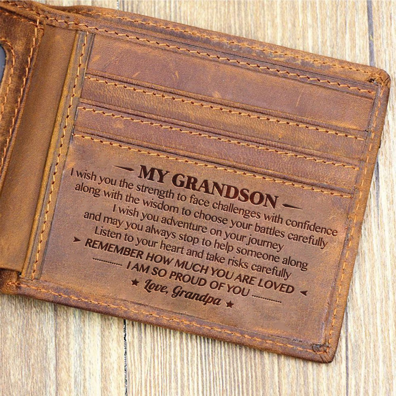Grandpa To Grandson - I Am So Proud Of You - Bifold Wallet