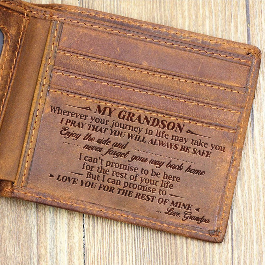 Grandpa To Grandson - Enjoy The Ride - Bifold Wallet