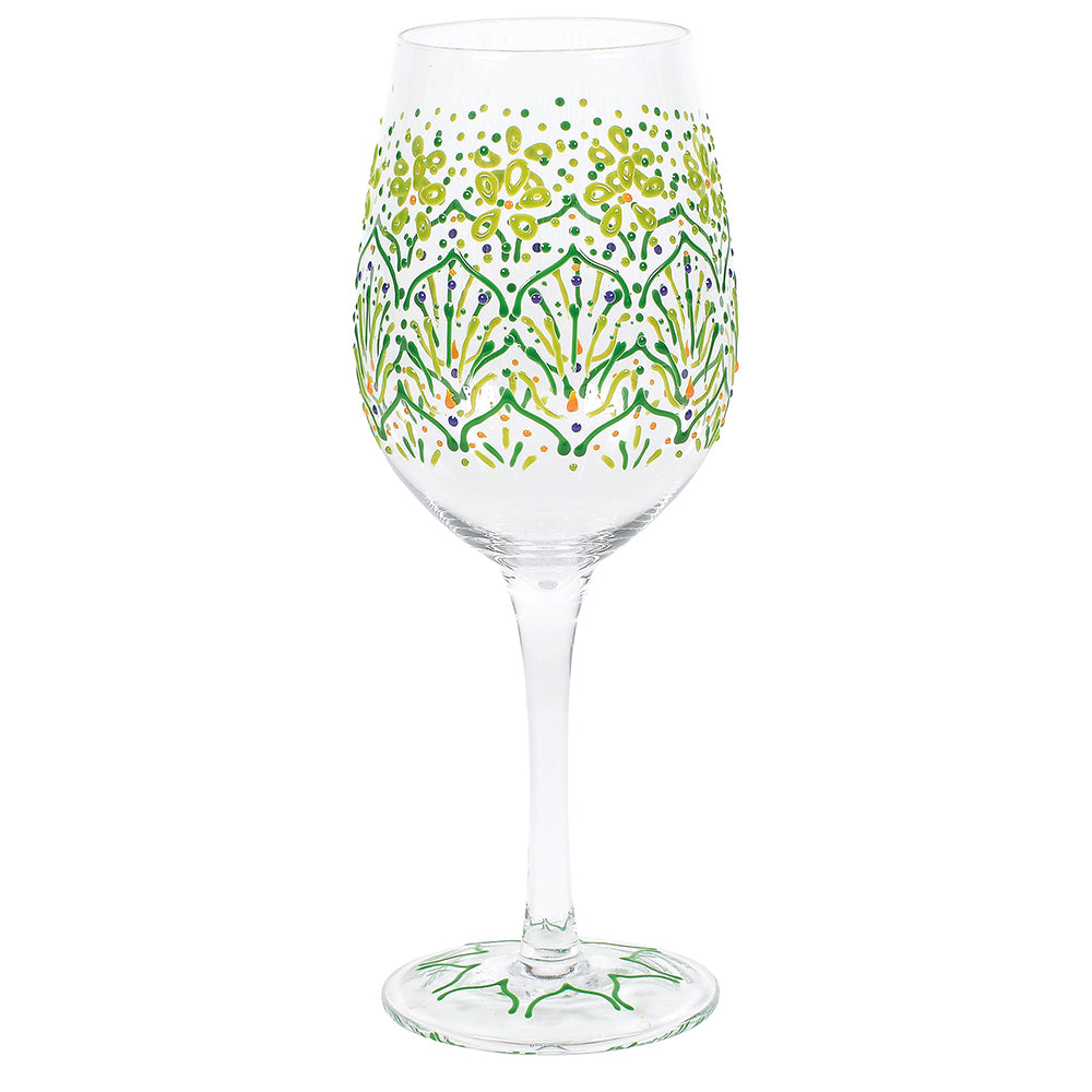 Lemon Henna Wine Glass