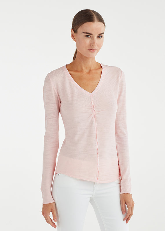 RUCHED FRONT V NECK