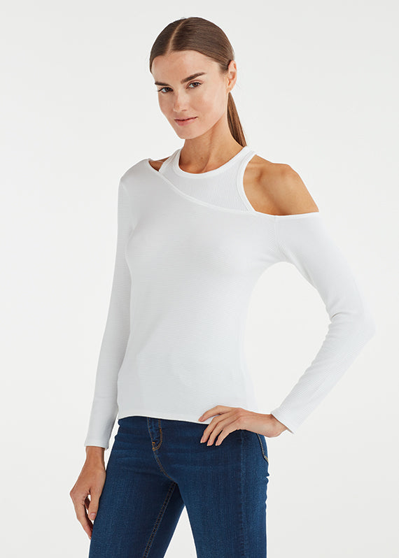 ASYM OFF THE SHOULDER TOP