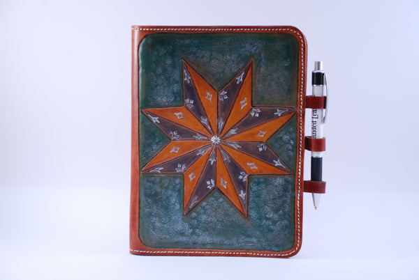 A5 Journal Cover carved with Star Design