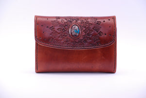 Ladies Clutch Wallet with crystal Cavensite inlay