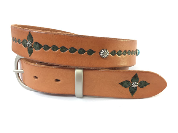 Turquoise Accented Boho Solid Leather Belts