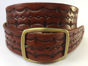 Tan Geometric Patterned Solid Leather Belt
