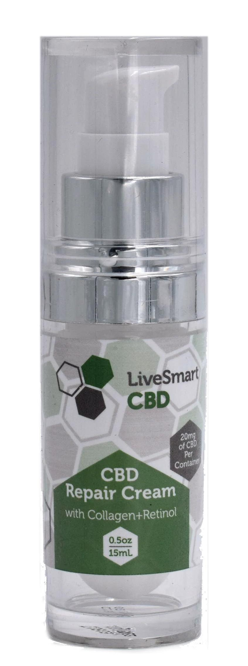 LiveSmart Hemp Oil Full-Spectrum Repair Cream with Collagen & Retinol (20mg)
