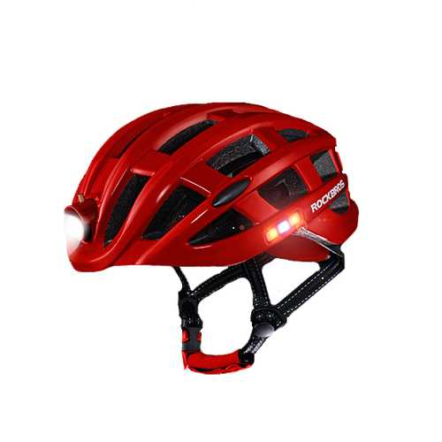 ROCKBROS 400 Lumens 3 Modes Cycling Helmet Waterproof Ultralight Helmet Intergrally-molded Mountain Road Bicycle MTB Helmet Safe Men Women 49-59cm