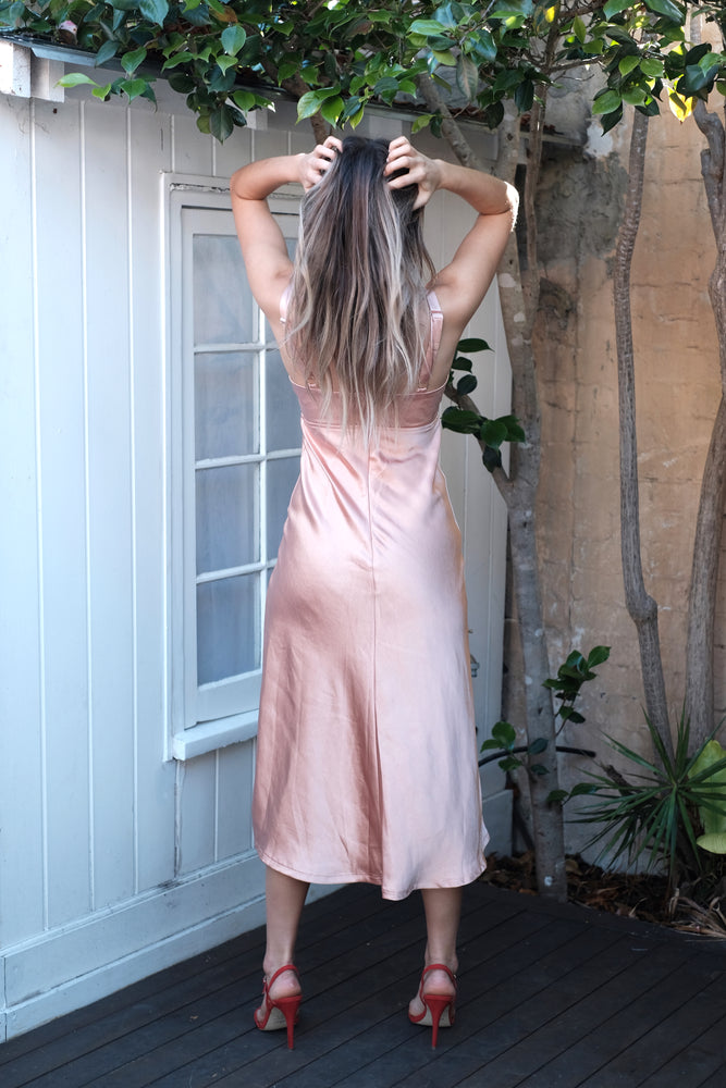 Delphine Dress - Peach - SAINT DELILAH