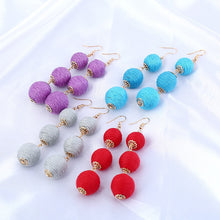 Load image into Gallery viewer, Bohemian Pom Pom Ball Dangle Earrings