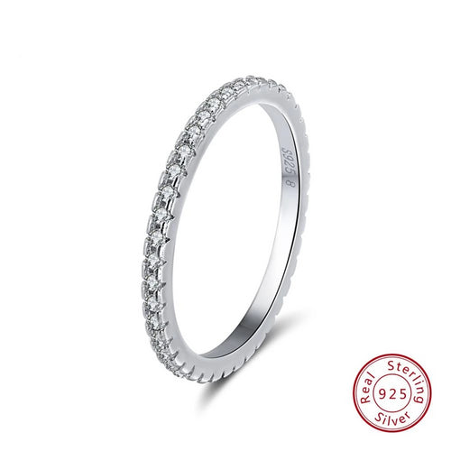 925 Sterling Silver Band With Pave Cubic Zirconia Stones
