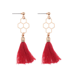Hollow Honeycomb Tassel Drop Earring