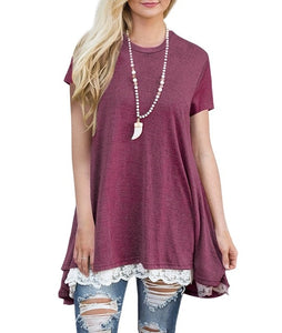 Say It With Lace Short Sleeve Tunic Top