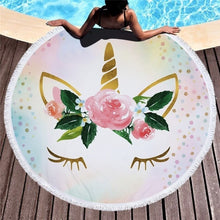 Load image into Gallery viewer, Unicorn Round Beach Towel. **Bonus** Drawstring backpack included FREE