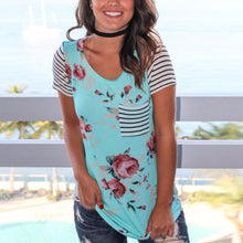 Load image into Gallery viewer, Always In Bloom Floral Striped Tee With Front Pocket