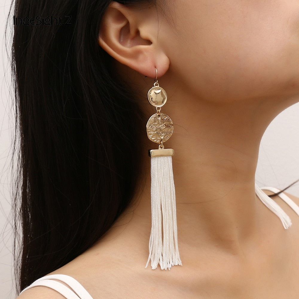 Long Tassel Earring With Geometric Gold Accents