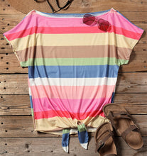 Load image into Gallery viewer, Rainbow Sherbet Off The Shoulder Tee With Tie Front