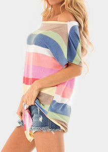 Rainbow Sherbet Off The Shoulder Tee With Tie Front