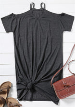 Load image into Gallery viewer, All In The Look Solid Grey Vneck Cold Shoulder Dress