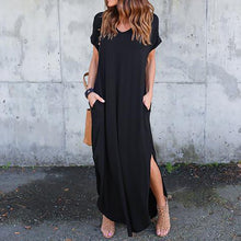 Load image into Gallery viewer, Solid Casual Short Sleeve Maxi Dress With Pockets