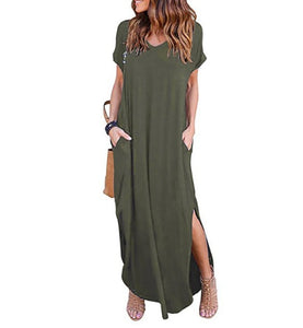 Solid Casual Short Sleeve Maxi Dress With Pockets