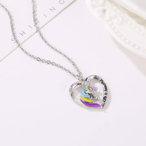Unicorn Necklace Love Heart Shape Silver or Gold Color