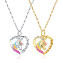 Load image into Gallery viewer, Unicorn Necklace Love Heart Shape Silver or Gold Color