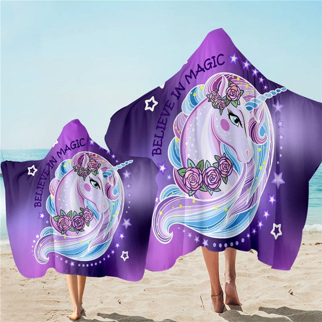 Unicorn Believe in Magic Hooded Towel Microfiber Bath Towel With Hood for Kids Adult - UnicornFeathers