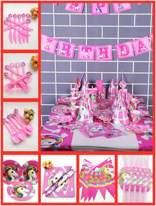 82Pc/set Unicorn Party Decorations Disposable Tableware Tablecloth Banner Plates Cups - UnicornFeathers