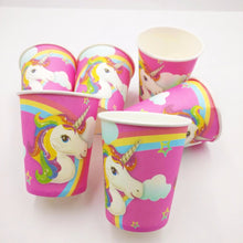 Load image into Gallery viewer, 82Pc/set Unicorn Party Decorations Disposable Tableware Tablecloth Banner Plates Cups - UnicornFeathers