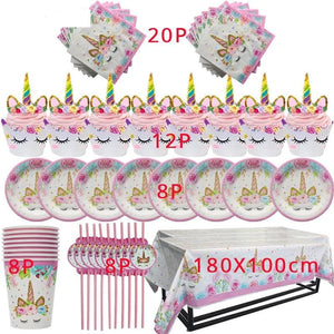 Unicorn Birthday Party Theme Disposable Tableware 57pcs  Paper Cup Plate Cake Toppers Party Supplies - UnicornFeathers