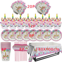 Load image into Gallery viewer, Unicorn Birthday Party Theme Disposable Tableware 57pcs  Paper Cup Plate Cake Toppers Party Supplies - UnicornFeathers