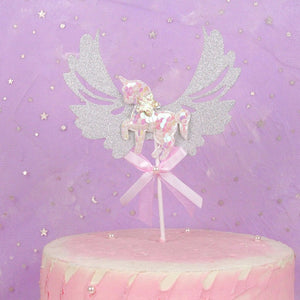 Glitter Unicorn Cake Topper Cupcake Decoration Birthday Party Cake - UnicornFeathers