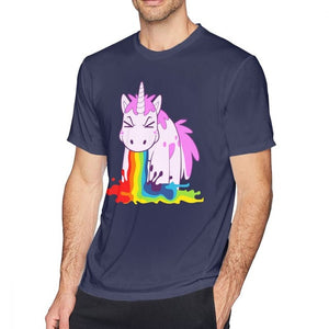 Unicorn T Shirt Vomit Rainbows Short Sleeve Round Neck - UnicornFeathers