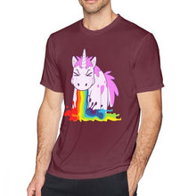 Load image into Gallery viewer, Unicorn T Shirt Vomit Rainbows Short Sleeve Round Neck - UnicornFeathers