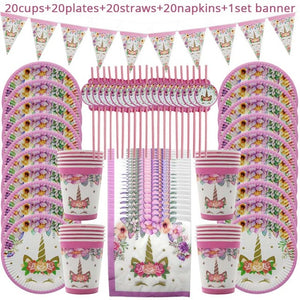 81pcs Unicorn Party Supplies for 20 guests  Birthday Decorations - UnicornFeathers