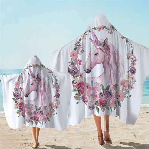 Unicorn White Hooded Towel Microfiber Bath Towel With Hood for Kids Adult - UnicornFeathers