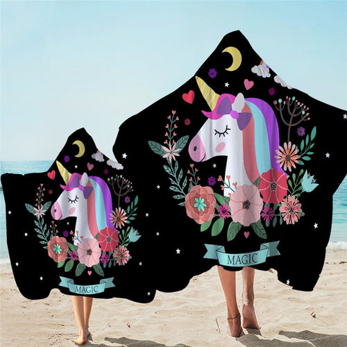 Unicorn Magic Hooded Towel Microfiber Bath Towel With Hood for Kids Adult - UnicornFeathers