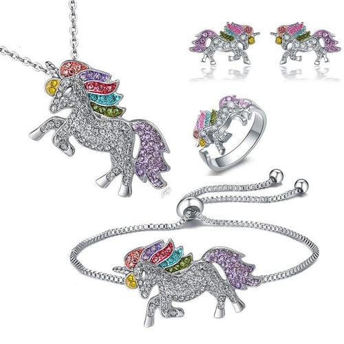 Unicorn Necklace Earrings Bracelet  Ring 5 piece Set Gift Jewelry
