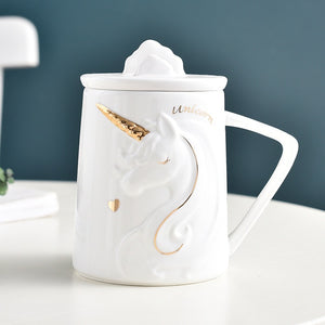 Gorgeous Unicorn Coffee Mug with Mobile Phone Holder Lid Ceramic Creative Gift
