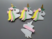 Load image into Gallery viewer, 10pcs Cute Felt Floral Unicorn Hairpins Solid Flower Glitter Unicorn Hair Clips