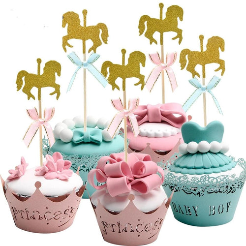 Gold Horse Cupcake Toppers - 20PCS Cute Paperboard Decoration - UnicornFeathers