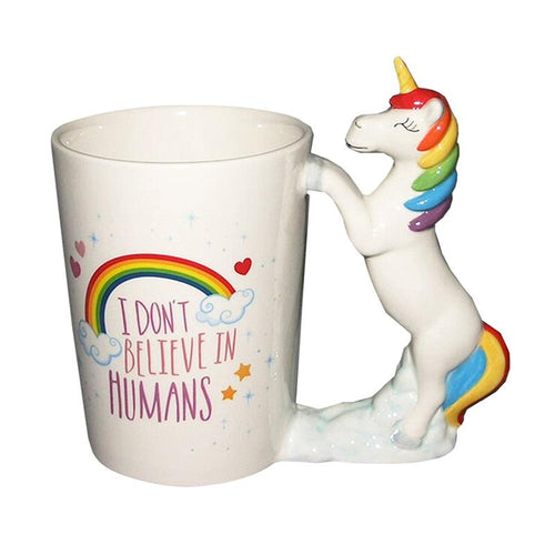 Unicorn Mugs Hand painted Ceramic Cute and colorful - UnicornFeathers