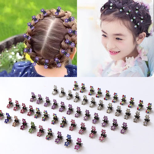12PCS/Lot Small Cute Crystal Flowers Metal Hair Clips Hair Accessories