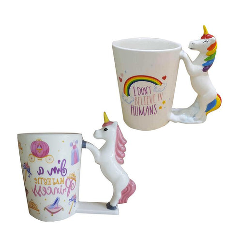 3D Unicorn Cup Mug use for Water /Coffee /Milk  Round Unicorn Handle choice of two designs