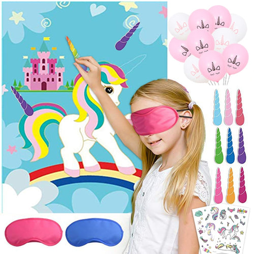 Pin The Horn on the Unicorn Game Set 1pcs Unicorn Poster+ 12 Unicorn Horns +1 Blindfolds