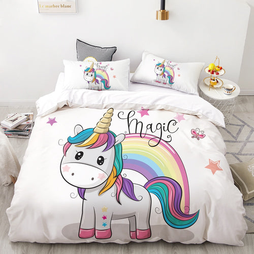 Unicorn Bedding Set Digital Printing , Duvet Cover Set Queen King Kids size beds - UnicornFeathers