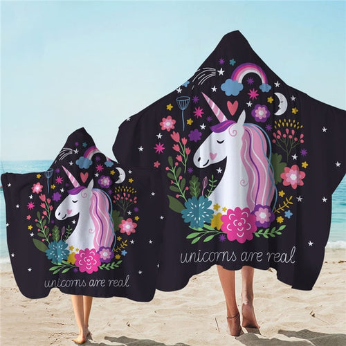 Unicorn Are Real Hooded Towel Microfiber Bath Towel With Hood for Kids Adult - UnicornFeathers